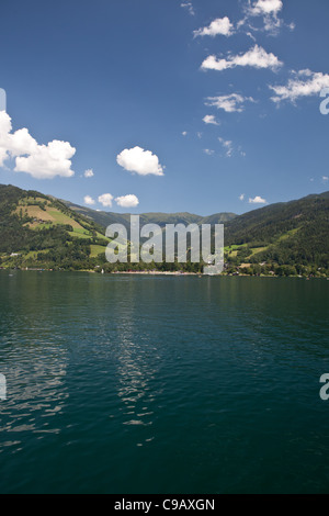 Image taken from the lake in Zell Am See. A beautiful landscape in the Alps in Austria - Stock Photo