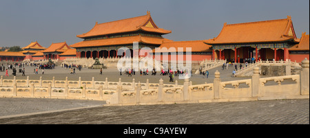 Panorama of Gate of Supreme harmony entrance to Outer court in the Forbidden City Beijing Peoples Republic of China - Stock Photo