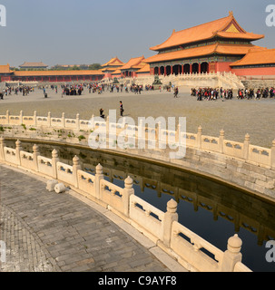 Inner Golden Water River and Gate of Supreme Harmony in Forbidden City Beijing Peoples Republic of China - Stock Photo