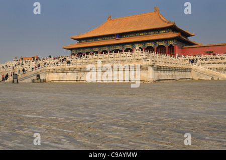 Hall of Supreme Harmony in the Grand Outer Court in the Forbidden City Beijing Peoples Republic of China - Stock Photo