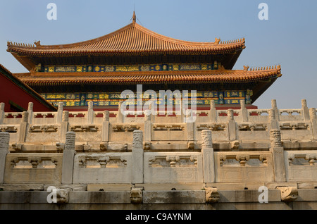 Side view of the Hall of Supreme Harmony in the Forbidden City Beijing China - Stock Photo