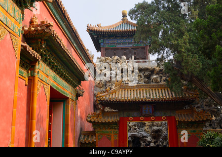 Imperial Garden in inner court at the north end of the Forbidden City Beijing Peoples Republic of China - Stock Photo