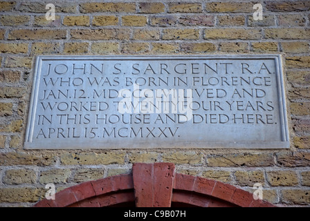 wall plaque marking the home and workplace of artist john singer sargent, tite street, chelsea, london, england - Stock Photo