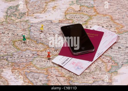 pins showing the location of a destination point on a map - Stock Photo