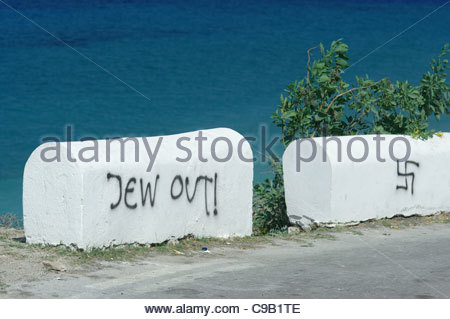 Europe, Greece, View Of Roadside 'Jew Out! Message, Anti-Jewish Graffiti (Who Locals Say Was 'Painted By Turks') - Stock Photo
