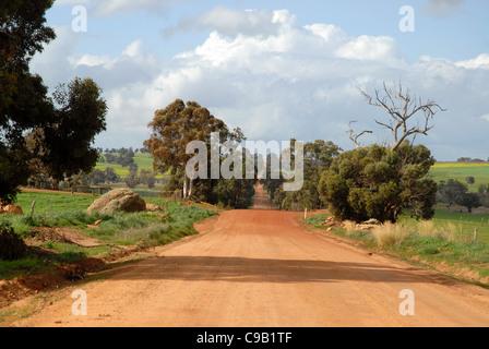 red dirt road, off Albany Highway, Western Australia, Australia - Stock Photo
