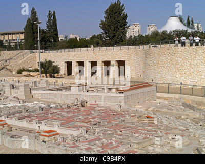 Israel Museum, model of Ancient Jerusalem, with Knesset and Shrine of the Book in the background - Stock Photo