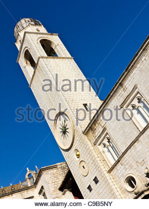 Church bell tower in the walled city of Dubrovnik, Croatia - Stock Photo
