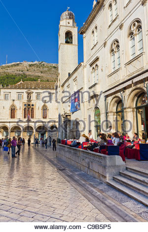 Tourists visiting the old walled city of Dubrovnik, Croatia. - Stock Photo