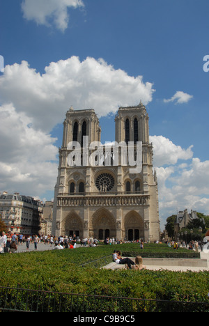 West facade and towers of the cathedral Notre Dame on the Île de la Cité in Paris, France - Stock Photo