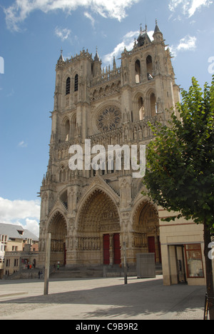 West facade and towers of the Amiens cathedral overlooking the Somme river in Picardy, France Stock Photo