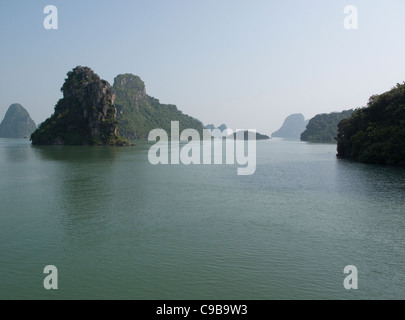 Halong Bay rock formations in the South China Sea, Vietnam - Stock Photo