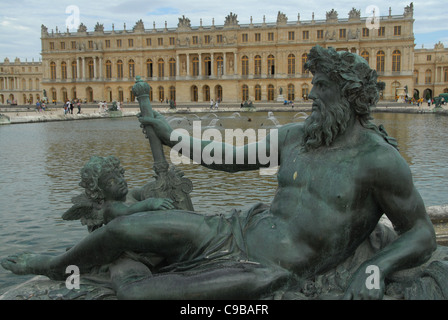 River allegory of Rhône in front of Bassin du Mid iand Corps de Logis of the castle Chateau de Versailles in Versailles, - Stock Photo