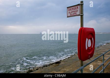 Danger slippery slope, Southsea, Portsmouth - Stock Photo