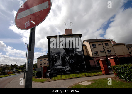 he Petrol Bomber mural in the republican Bogside, Londonderry, Northern Ireland. Painted by the Bogside Artists. - Stock Photo