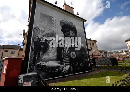 The Petrol Bomber mural in the republican Bogside, Londonderry, Northern Ireland. Painted by the Bogside Artists. - Stock Photo