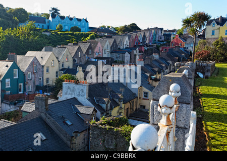 High Angle View of Colorful Row Houses in Cobh, County Cork, Munster, Republic of Ireland - Stock Photo