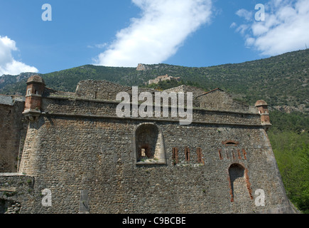 Fort Libéria by Vauban above the Pyrénées town of Villefranche-de-Conflent, a UNESCO world heritage site in France - Stock Photo