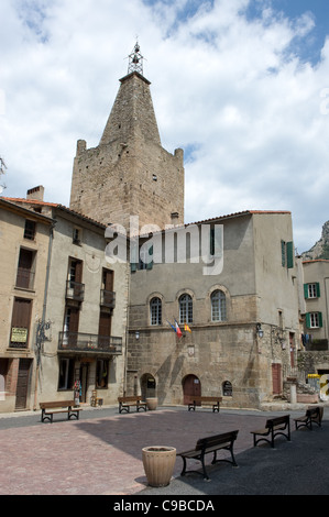 Church in the ville close, the fortified town centre of Villefranche-de-Conflent in Pyrénées-Orientales, France - Stock Photo