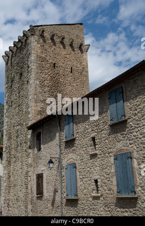 Tower of St-Pierre in the ville close, the fortified town centre of Villefranche-de-Conflent in Pyrénées-Orientales, - Stock Photo