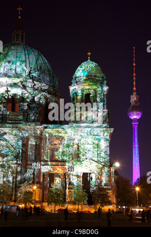 Berliner Dom during festival of lights 2011, Berlin, Germany - Stock Photo