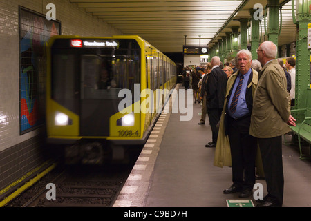U bahn train arriving at Deutsche Oper station, Berlin, Germany - Stock Photo