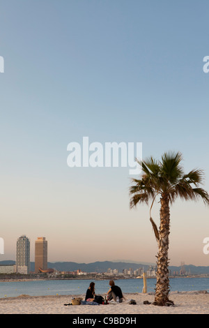 View of Hotel Arts and MAPFRE tower and Fòrum area from Barceloneta beach, Barcelona, Spain - Stock Photo