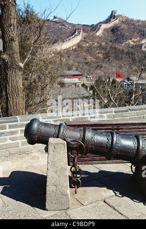Chinese Cannon on Display, Great Wall, Badaling Section, China - Stock Photo
