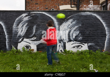 The Liverpool Mural Project  The Riverside Group Wall Paintings of the  Beatles, Seaforth, Merseyside, UK - Stock Photo