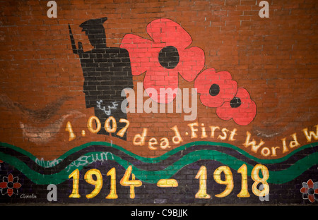 Wall Mural painting commemorating 1914 First World War,  The Strand, Seaforth, Liverpool, Merseyside, UK - Stock Photo