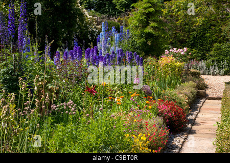 Classic Summer English Cottage Garden With Herbaceous Border