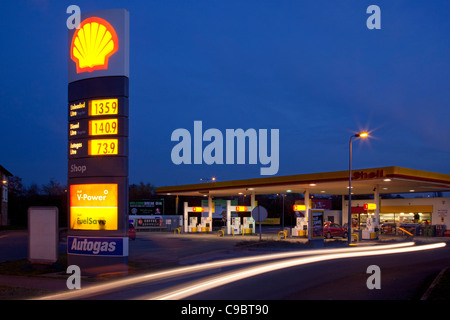 Illuminated petrol and diesel fuel prices tesco filling station stock photo 55191752 alamy - Esso garage opening times ...