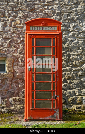 Traditional red telephone box England UK United Kingdom GB Great Britain - Stock Photo