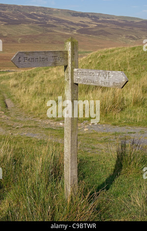 Pennine Way footpath sign near Pen Y Ghent Yorkshire Dales North Yorkshire England UK United Kingdom GB Great Britain - Stock Photo