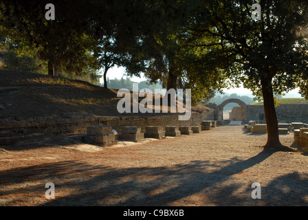 Olympia , Greece in Early Morning before the Crowds Entrance to the Stadium - Stock Photo
