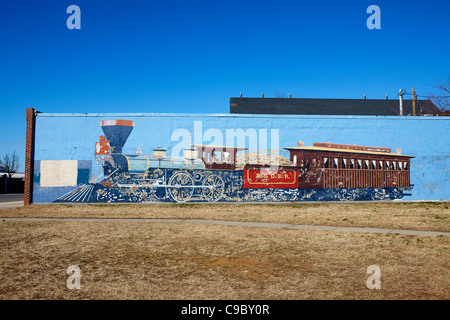 A mural on a building across Pratt Street from the B&O Railroad Museum, Baltimore, Maryland. - Stock Photo
