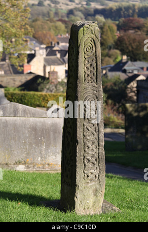 Ancient Saxon Cross in Bakewell - Stock Photo