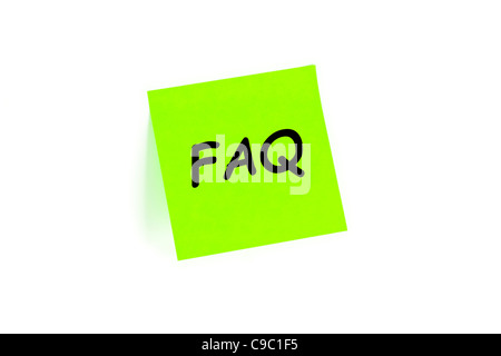 FAQ Frequently Asked Questions Concept On A Note Isolated On White - Stock Photo