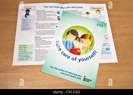 NHS health advice pamphlet delivered to UK households in Novemer 2011, explaining best way to seek treatment - Stock Photo