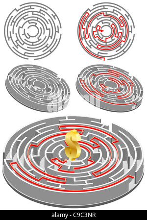 Set of circular Labyrinth with the solution, all the elements on different layers - Stock Photo