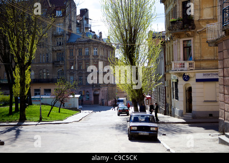 Square Adjacent to Saint Mary Magdalene Catholic Church, l'viv, Ukraine - Stock Photo