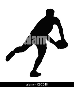 Sport Silhouette - Rugby Player Making Swinging Running Pass - Stock Photo