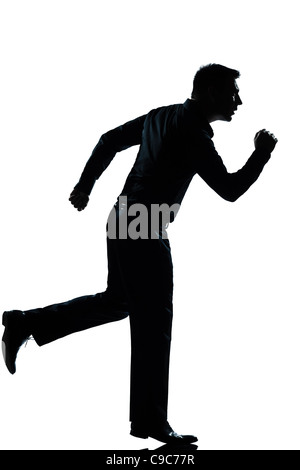 one  business man running full length silhouette in studio isolated white background - Stock Photo