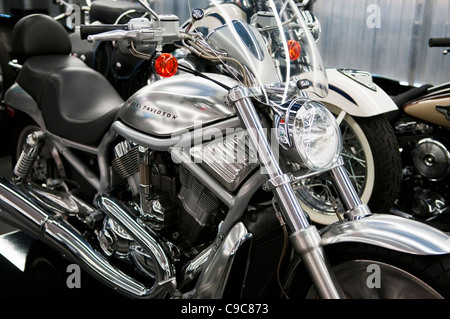 Harley Davidson Motorcycle at the Harley Davidson Museum in Milwaukee, Wisconsin - Stock Photo