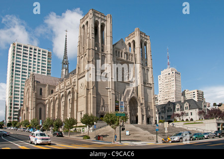 Grace Cathedral San Francisco  California United States of America American USA Town City - Stock Photo