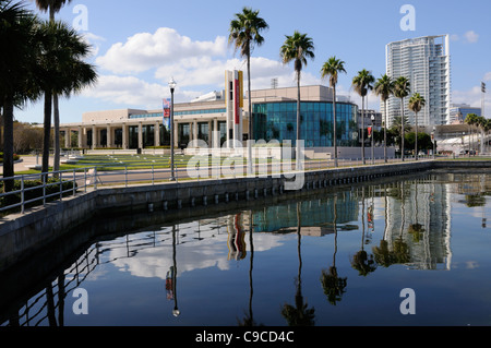 Mahaffey Theater at Progress Energy Center for Arts in downtown St Petersburg Florida USA Seen from Tampa Bay - Stock Photo