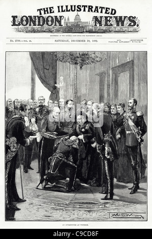 Front page of The Illustrated London News 10th December 1892 featuring Queen Victoria performing investiture at - Stock Photo