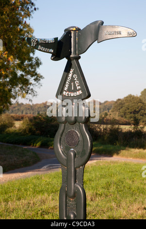 National Cycle Network signpost near Gateley, Norfolk - Stock Photo