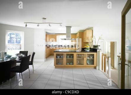 Interior view of kitchen/dinning area. - Stock Photo