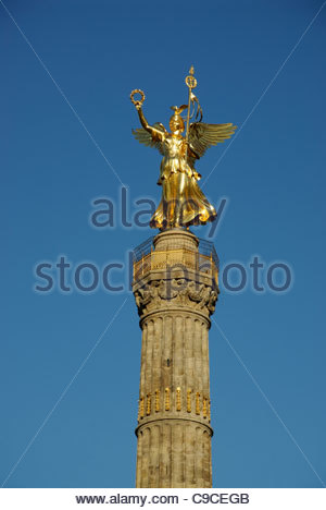 the golden angel statue on top of the Victory Column , Siegessäule,  in Berlin, Germany - Stock Photo